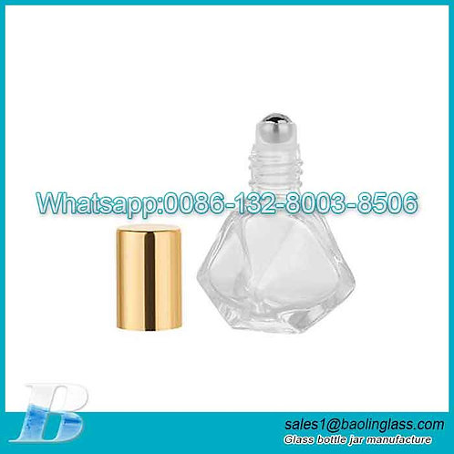 5ml (1/6 oz) Polygonal Design Thick Glass Essential Oil Roller Bottle