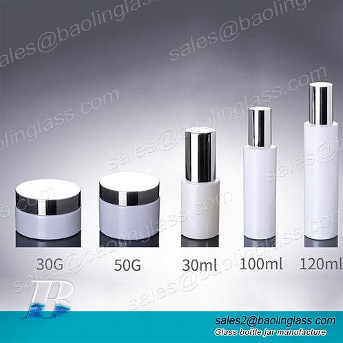 120ml White Glass Bottle Dispenser Lotion Pump Bottle,30g 50g 50cc Glass Cream