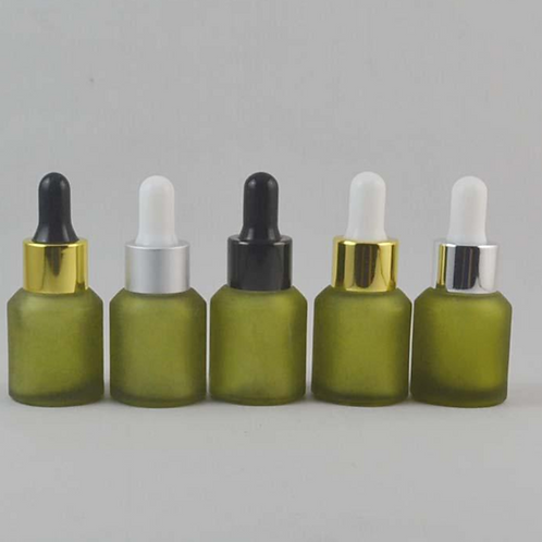 15ml olive green frosted glass essential oil bottle