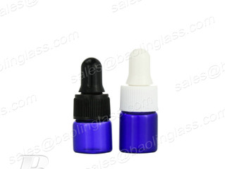 1ml 2ml Small Blue Tube Glass Vial with Dropper Lid, Serum Bottle