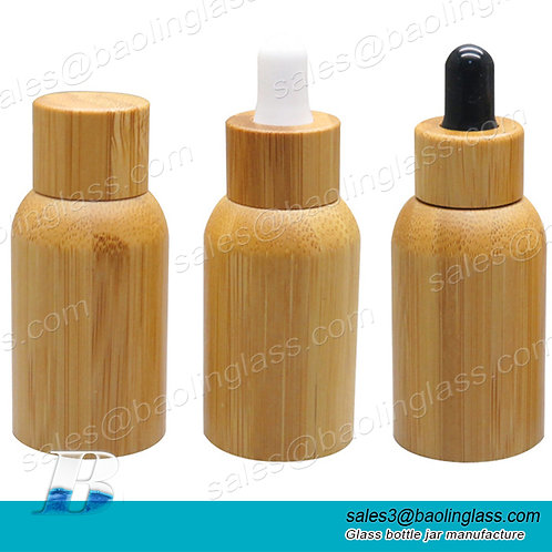 New arrival essential oil glass bottle bamboo dropper bottle with glass pipette
