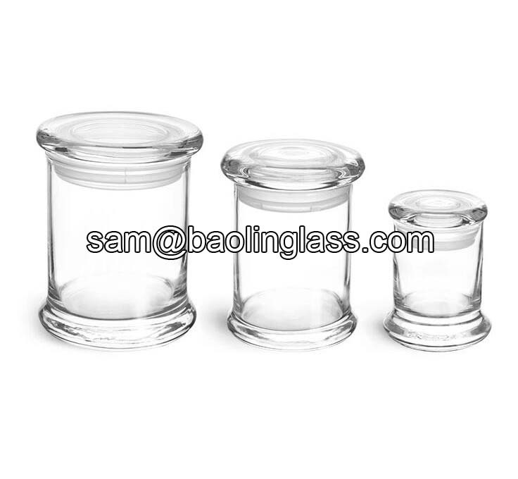 Clear Glass Candle Jars with Glass Flat Pressed Lids