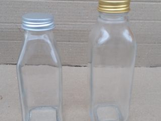 350ml & 400ml french square juice glass bottle with aluminum cap