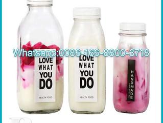 300ml 500ml 1000ml french square yogurt milk beverage glass bottle with tamper evident lid