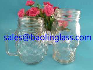 Glass Skull Mason Jar 16 OZ Cup