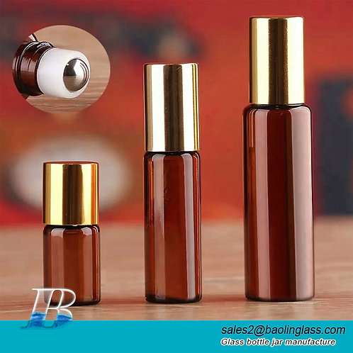Wholesale 3ml 5ml 10ml amber cosmetic roll on glass bottles with metal or glass