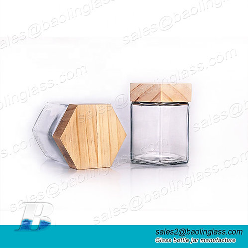 Wholesale 380ml food grade hexagon honey glass jar with wooden lid
