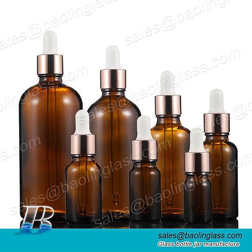 Empty bottles for hair oil dropper bottles amber with rose gold dropper head