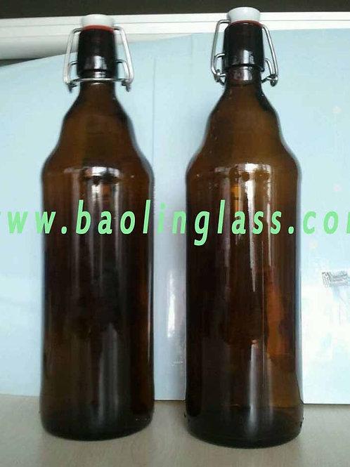 1000ml flip amber glass beer bottles growler