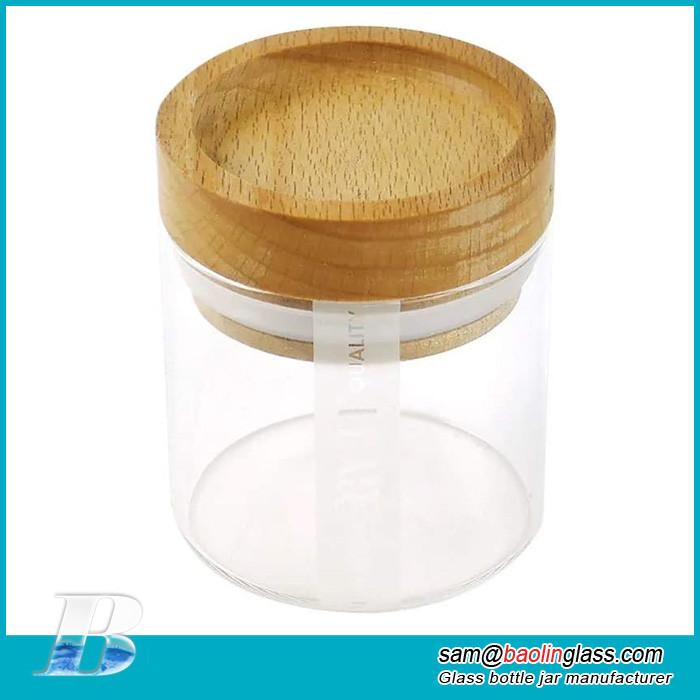 Glass Jar with Beech Wood Lid