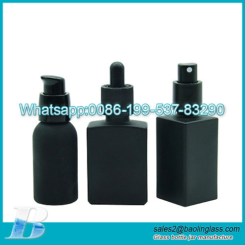 matte black square blue frosted glass droppers essential oil bottles