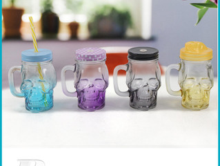 skull mason jars with lids and straws