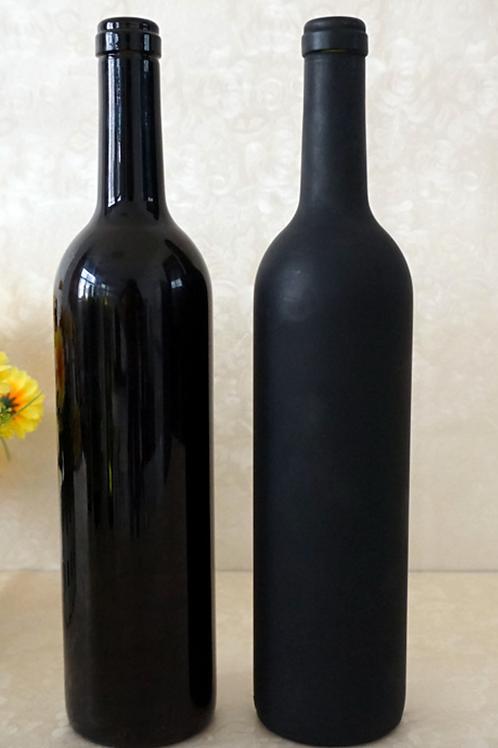 750ml empty black wine glass bottle