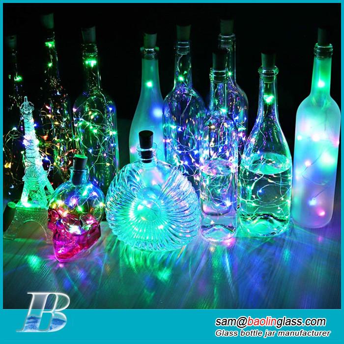 Colorful LED Wine Bottle Lights with Cork