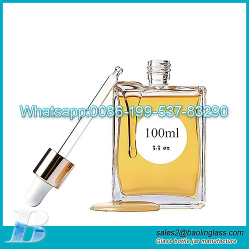 50ml 100ml high quality flat square  glass hair oil bottle with dropper