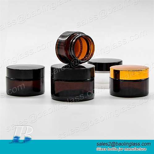 30g 50g 60g 100g Cosmetics Packaging with  Lid Face Cream Amber Glass Jar