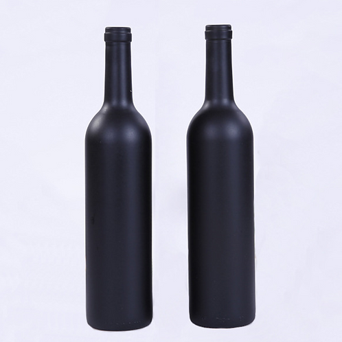 750ml matt black wine glass bottle