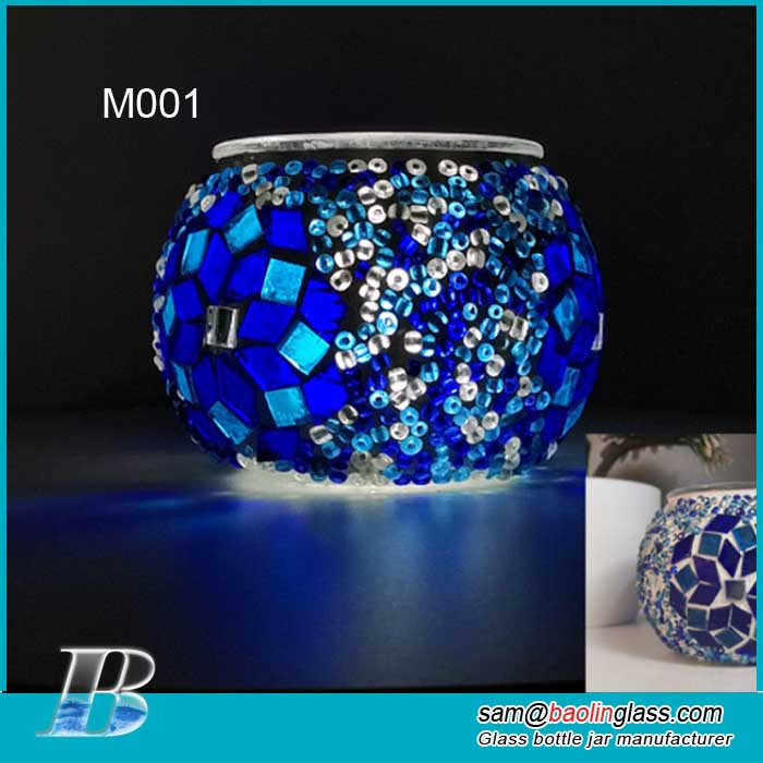 Scented Candle Holder Mosaic Glass