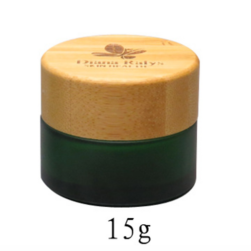15g 15ml green glass jar with wooden lid