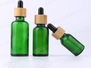 Green Glass Dropper Bottle with Bamboo Lid   | 30ml