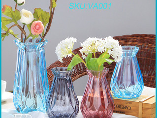 Decorative Clear Glass Diamond-Faceted Crystal Flower Vases with engraving