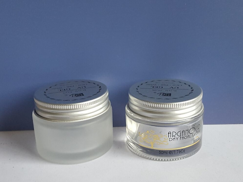 1.76 oz 50g frosted cosmetic cream glass jar