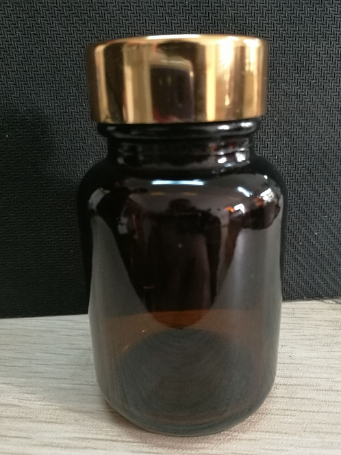 50ml amber glass medicine bottle with gold cap