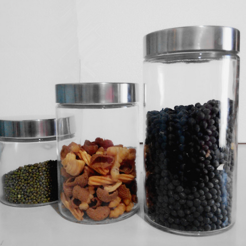 Straight side food storage glass jar cylinder bottle