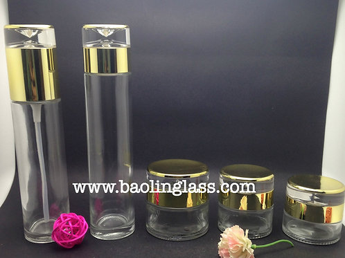 fashion set of cosmetic glass jar and bottle