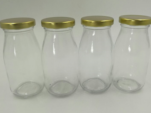 Private label bulk 200ml milk glass bottle with metal cap