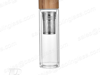 400ml Clear Double Glass Water Bottle with Bamboo Cap and Stainless steel Strainer