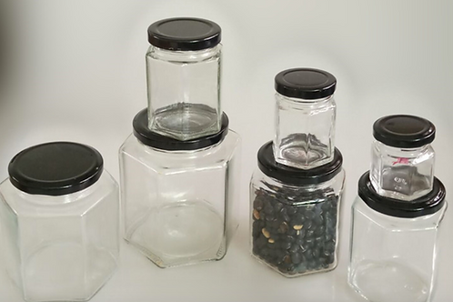 Hexagonal glass canister glass jar for honey/jam