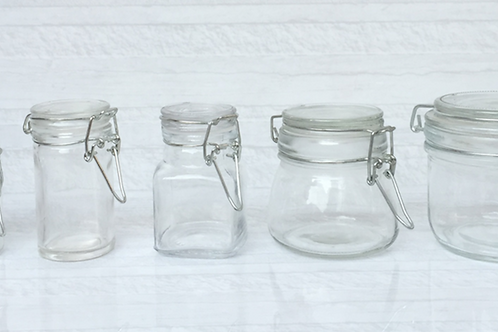 50ml 70ml 100ml 200ml flip clip glass jar