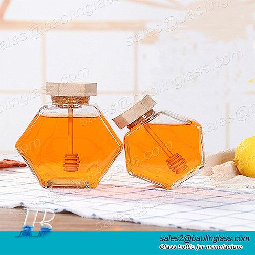 220ml 380ml 250g 500g Wholesale bamboo cover empty hexagon natural royal honey