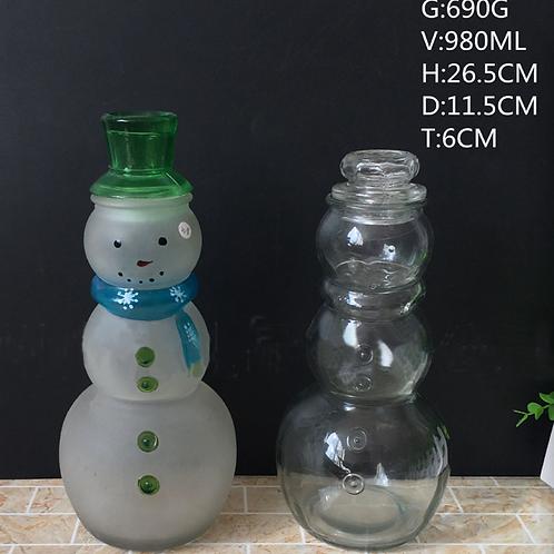 Unique snowman shape beverage glass bottle