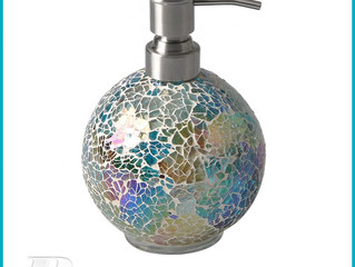 hand made mosaic luxury glass bottle with shampoo dispenser lid