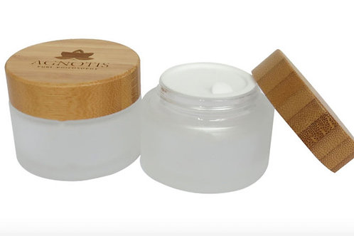 30ml 50ml frosted cream glass jar with bamboo lid
