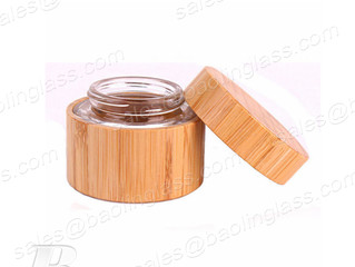 Cosmetic Cream Jar, 1.75OZ/50ML Clear Glass Jar Face Cream Storage Bottles With Bamboo Body And Lids