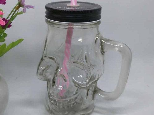 skull shape beverage glass mason jar