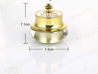 30g Luxury Cream Jar in Gold With Crown Cap Acrylic Cosmetic Jar
