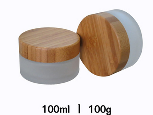50ml 100ml frosted makeup glass jar with bamboo lid