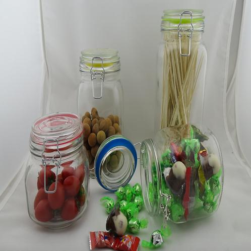 Dry food milk powder airless clip glass jar