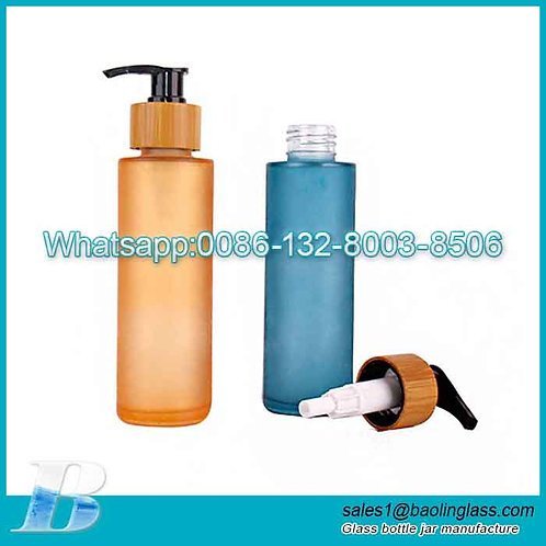 100ml/3.4oz Customized Color Glass Pump Bottles Empty Refillable Bamboo Pump