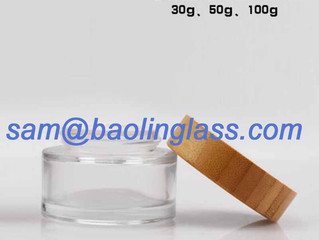 30g 50g 100g ointment clear glass jar with bamboo lid