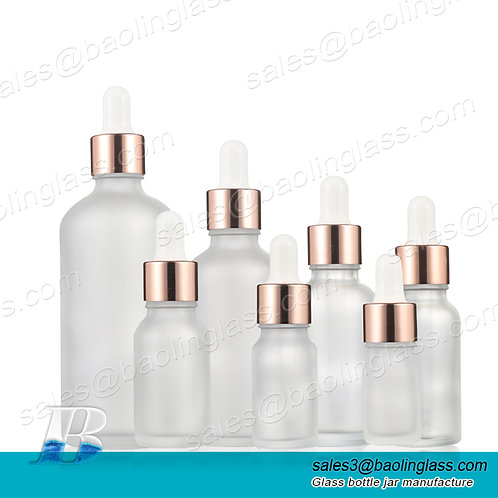 Hot sale rose gold dropper head frosted dropper bottle 30 ml dropper bottle