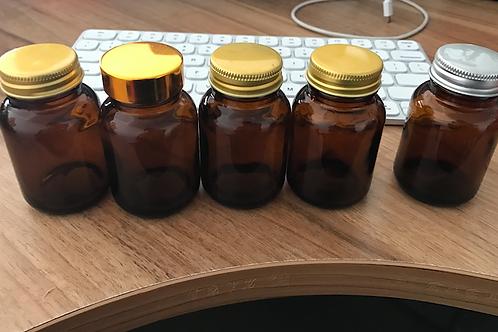 2oz 60ml amber capsule glass jar