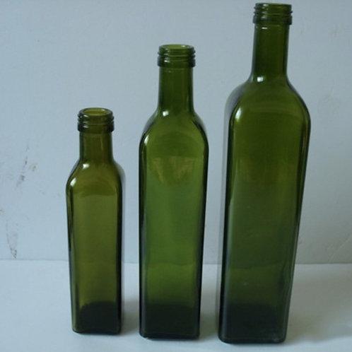 250ml 750ml dark green cooking oil square glass bottles