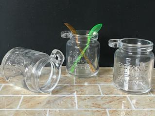 Salt glass jar with wooden spoon