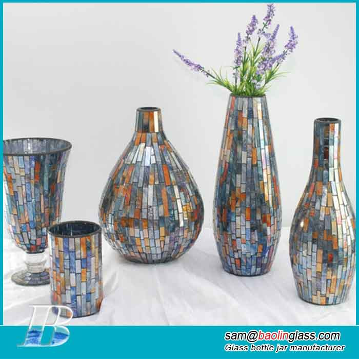 Decorated Art Glassware Glass mosaic Vase