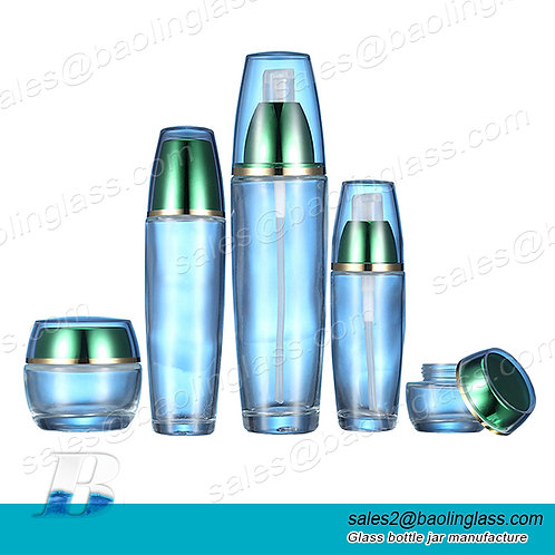 Lotion Pump Glass Cosmetic Bottle and Jar 30ml-120ml Cylinder Cosmetic Pump